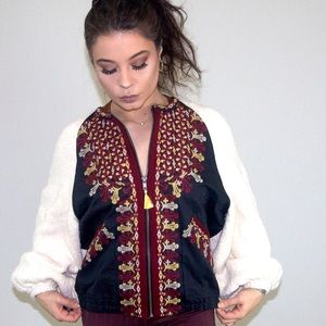 Free People Embroidered Knit Jacket Size M/L